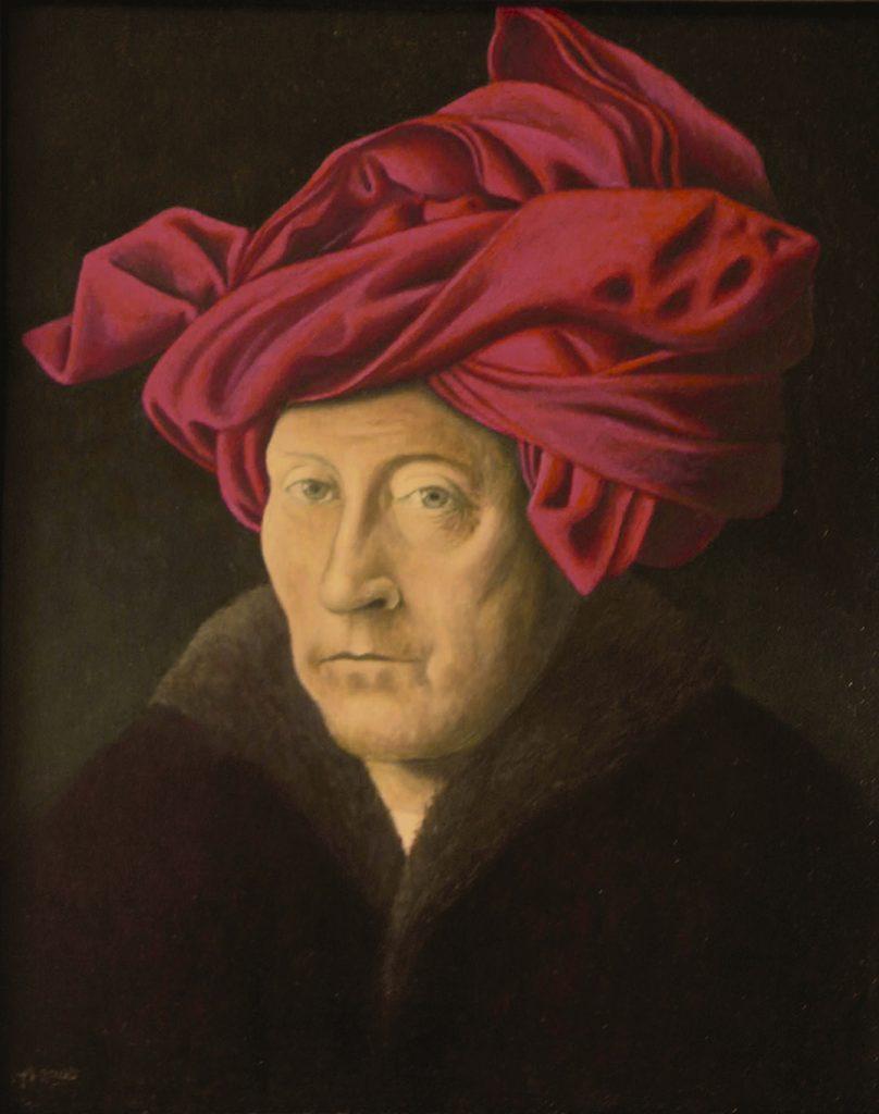 Schilderij op VanEyck gebaseerd.
